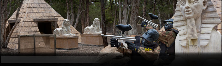 Delta Force Paintball Appin, Sydney Tomb Raider with Sphinx and pyramids
