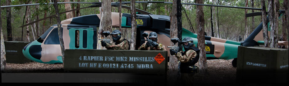 Delta Force Paintball Appin, Sydney, Black Hawk Helicopter in the Tropic Thunder Game Zone